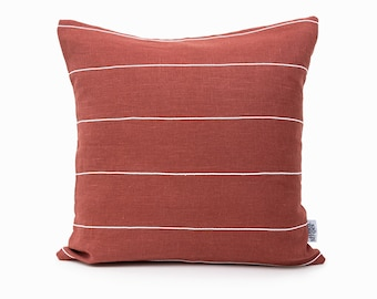 Gray, Red, White, Stripes Throw Pillow