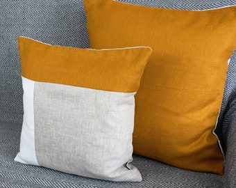 Mustard Pillow Covers Linen Throw