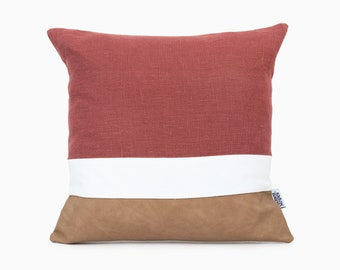 Rust red  fabric Canvas Pillowcase 16x16