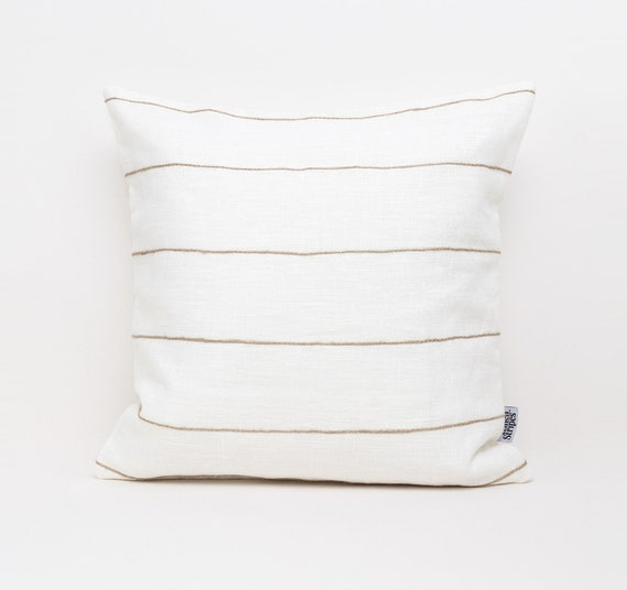 Striped Euro Sham Pillow Cover Linen