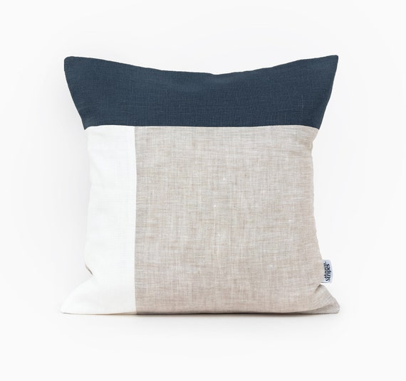 Superb Color Block Pillow Covers Navy Cushion Covers Uk Navy Blue Pillow Cases Linen Pillowcase 26X26 Pillow Cover Blue Throw Pillow Covers Blue Andrewgaddart Wooden Chair Designs For Living Room Andrewgaddartcom