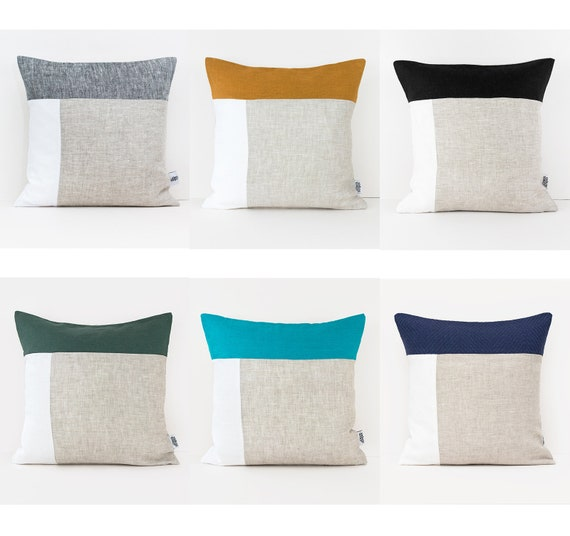 Geometric Pillows Covers 20x20 Cushion Cover Color Block Etsy
