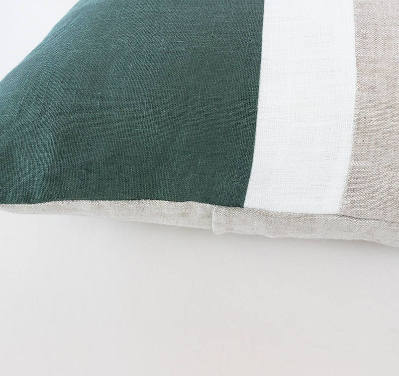 Color Block Pillow Covers Dark Green Linen Cushion Cover uk Art deco Pillow Cases Couch Forest Green Throw Pillow Covers 20x36 King Sham