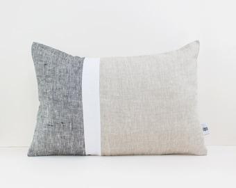Geometric Cushion, 14x36 pillow, Lumbar pillow, Color Block Pillow, Graphic pillow, Mid century pillow, Linen throw pillow, Rectangular