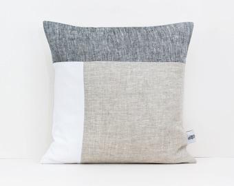 Color Block Pillow Cover Geometric Cushion Cover, Mid Century Pillow Covers Organic Linen Pillowcase, Linen Pillow Cover 20x20 Throw Pillows