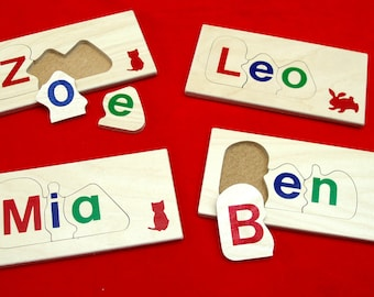 Children's wooden name jigsaw puzzle - 3 letters - personalised & educational