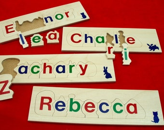 wooden name jigsaw puzzle - 7 letter educational child's toy