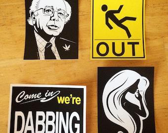 Weed Stickers (Set #2) - Cannabis Slaps - Dab Art - Pot Leaf - 420 Print - Bernie Sanders - THCuties - Dabbing - Welcome Sign - Bong Gear