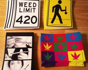 Weed Stickers (Set #1)  - Cannabis Weed Ganja sticker - Dab Art - Pot Leaf leaves - 420 Print - Marijuana slaps - Bong Gear - blunt girl