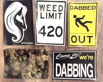 "XL Weed Stickers! 4""x6"" - Cannabis Slaps - Dab Art - Pot Leaf - 420 Print - Marijuana Prints - Nug - Dabbed Out - Bong Sticker - THCuties"