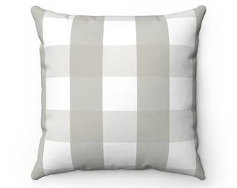 Grey Buffalo Check Pillow With Insert