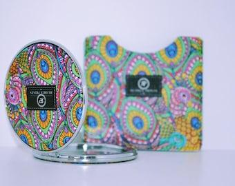 Colourful Peacock Mirror with Case - Travel Mirror - Pocket Mirror