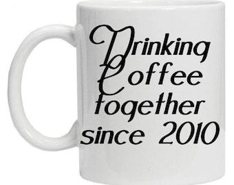 Drinking Coffee Together Mug - Love Coffee Mug - Couple Coffee Mug - Love Story Mug  - Tea Mug - Girlfriend Mug - Boyfriend Mug