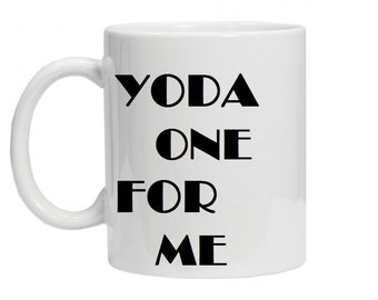 Yoda One For Me Travel Mug - Ceramic Christmas Message Mug, Valentines Day Gift for Him or Her