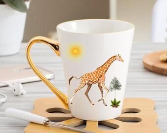 Giraffe Coffee Mug With Gold Handle Christmas Gift