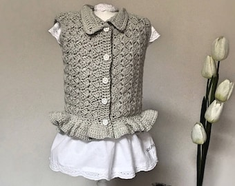 58 CROCHET PATTERN, Baby crochet pattern, crochet cardigan/vest for baby from newborn to 24 months, pattern no58.