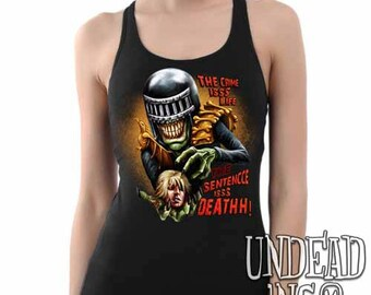 Judge Death - The Crime is Life 2000 ad Dredd - Judge Anderson Dredd 2000 ad Comic - Ladies Tank Top Singlet