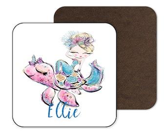 Name Coaster Personalised Mermaid Turtle Coaster Drink Coaster Coaster Gift Custom Coaster