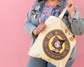 Bad Witches Club Tote Bag Witch Funny Large Witchy Shopping Bag Eco Friendly Reusable Divination Adult Shoulder Bag