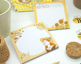 Pack 2 Memo Cottagecore Cute Sunflower Illustration Handmade Girl Notepad Memo Sheet Sticky Notes Stationery Office Supply Journaling