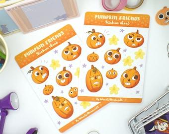 Pumpkin Sticker Sheet Vinyl Halloween Monster Pumpkin Star Kiss Cut Notebook Journal Water Bottle Laptop Label