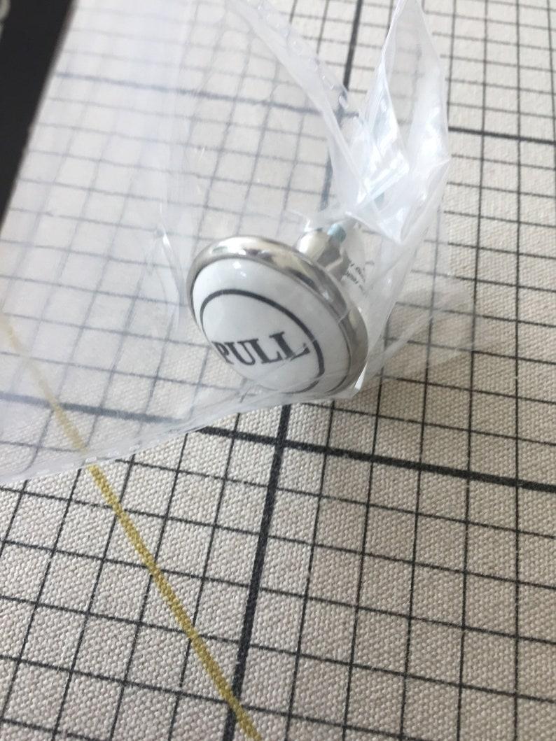 pulls. drawer Metal and Ceramic \u201cPULL\u201d cupboard handles door knobs Pack of 2