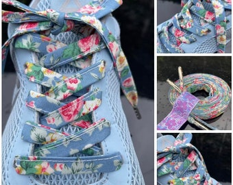 LIBERTY PRINT SHOELACES in adult and children/'s sizes Capel teal