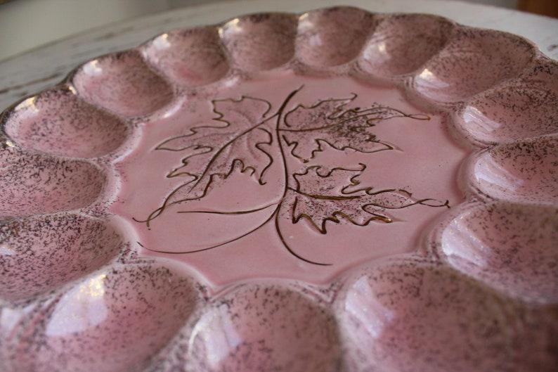 Mid Century Modern Pink Splatter Vintage Deviled Egg Plate Party Relish Tray