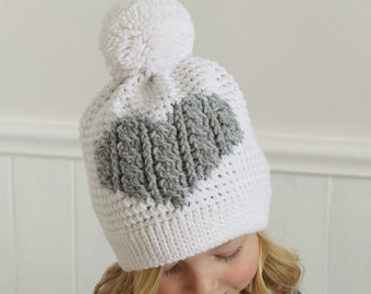 12f06477e5e Crochet Pattern - Henley Crochet Cable Heart Hat by Lakeside Loops  (includes Toddler