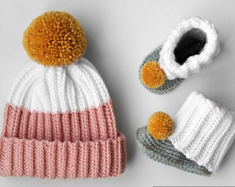 bbab0172280 Crochet Pattern - Vaughn Ribbed Hat + Bootie Slipper Set (includes Baby and  Toddler sizes)