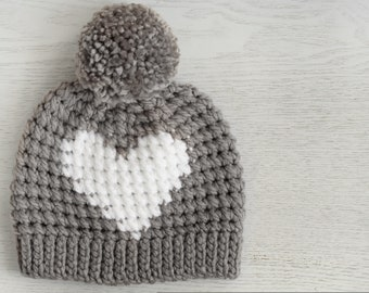 f4882efd2b3 Crochet Pattern - Hunter Heart Hat by Lakeside Loops (includes Baby