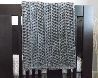 Crochet Pattern - Hayden Chevron Blanket/Afghan/Rug PATTERN (includes 3 sizes: stroller./baby blanket, crib blanket, and afghan)