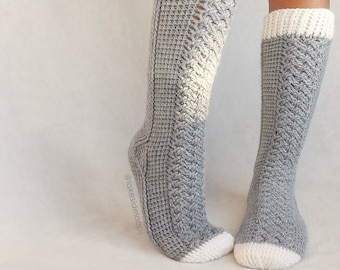 Crochet Pattern - Parker Cable Socks by Lakeside Loops (includes 11 sizes - Baby (6 Months) through to Mens/Womens Adult sizes)