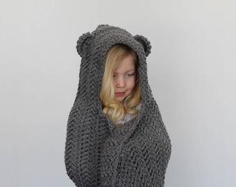 Crochet Pattern - Jensen Herringbone Hooded Blanket by Lakeside Loops (includes 3 sizes: baby, kids, and adult)