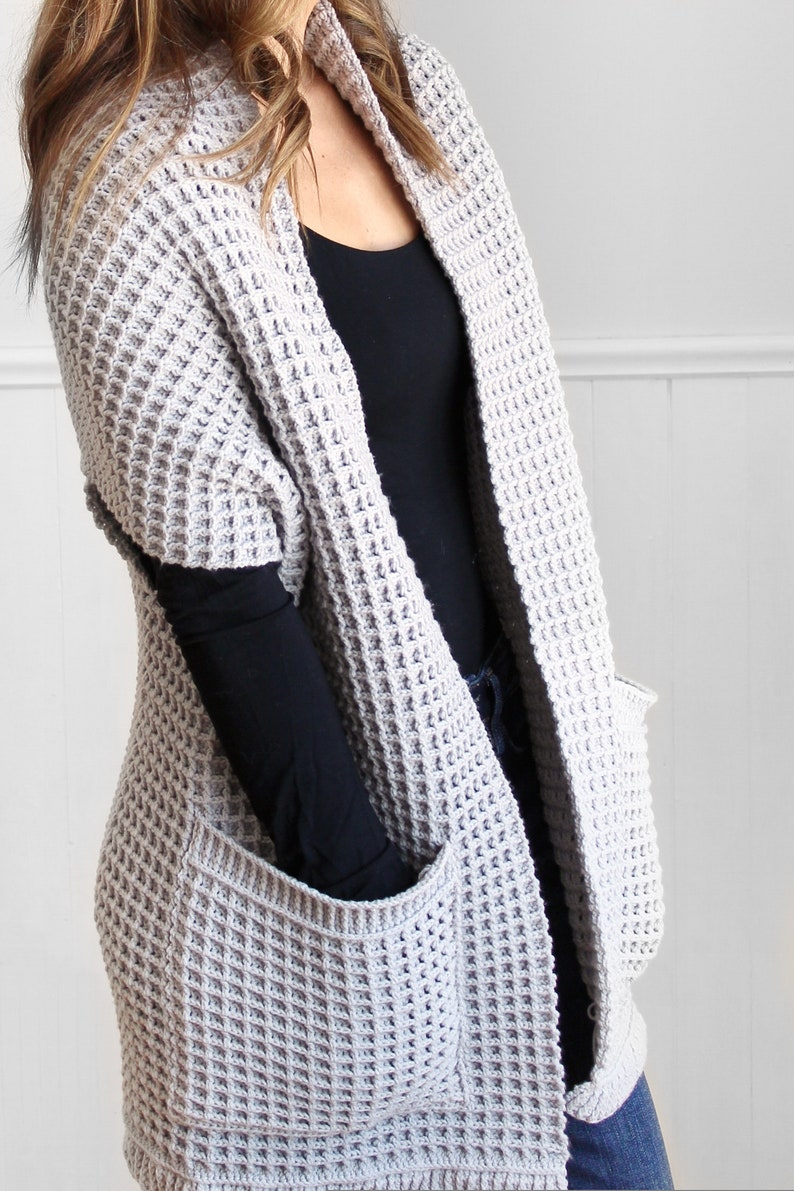 Watson Waffle Crochet Cardigan by Lakeside Loops includes baby, toddler, kids, and adult S-5XL Crochet Pattern