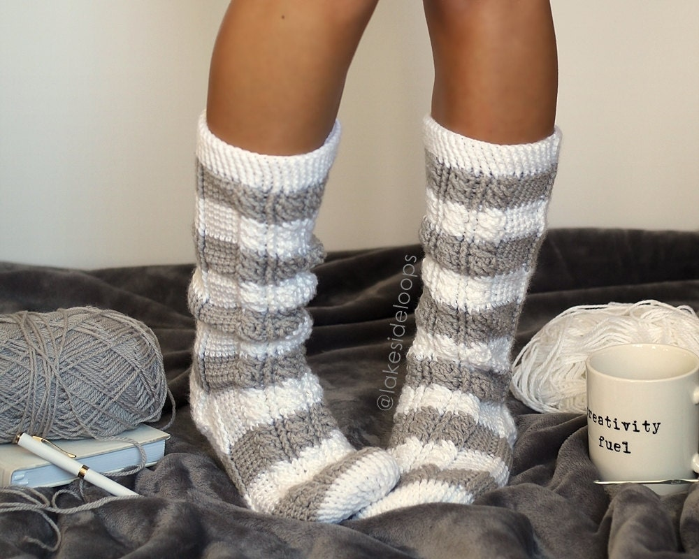 Crochet Pattern Harlow Cable Socks By Lakeside Loops Etsy