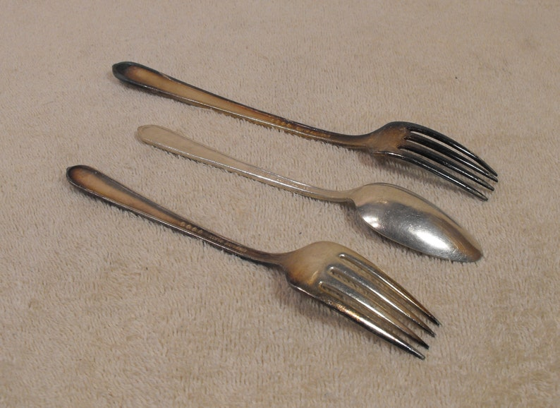 Salad Fork and Tea Spoon 3 Piece Assorted Lot Oneida Royal Rose Nobility Plate Dinner Fork May Use Craf Projects..Spoon Ring or Bracelet