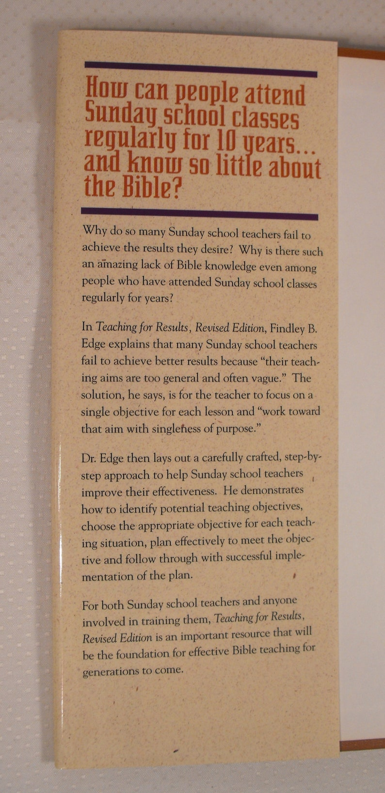 Book: Teaching for Results by Findley B  Edge   Classic Text in Christian  Education   Students, Lay Teachers, Ministers Christian Education
