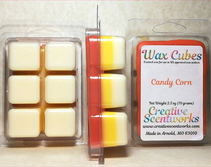 Featured listing image: Candy Corn Wax Melts, Scented Wickless Candle, Cubes, Tarts