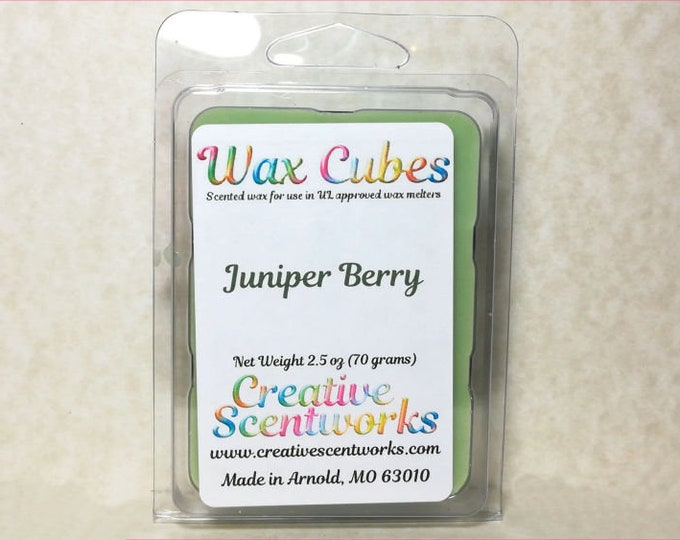 Featured listing image: Juniper Berry Wax Melts, Scented Wickless Candle, Cubes, Tarts