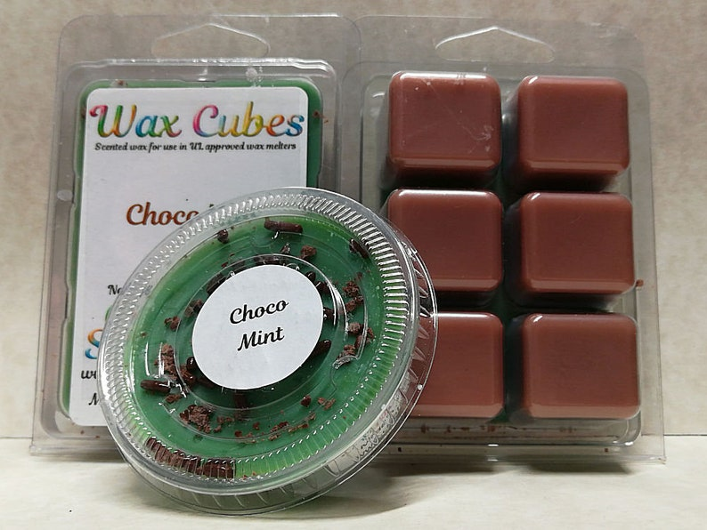 Chocolate Mint Wax Melts Scented Wickless Candle Cubes image 0