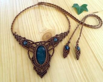 Moss agate macrame necklace, macrame stone, gemstone necklace, macrame jewelry, tribal necklace, moss agate jewelry, hippie necklace