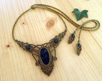 Moss agate macrame necklace, macrame jewelry, hippie necklace, macrame stone, gemstone necklace, moss agate jewelry, gypsy necklace