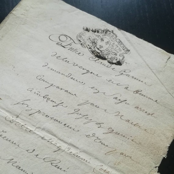 FRANCE 1784 antique French printed /& handwritten manuscript paper old calligraphy penmanship letter 1700s legal document made in Paris