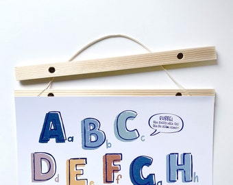 Wooden poster strips with magnets and tape