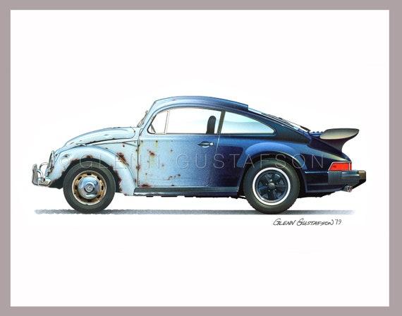 Alto detalle aerógrafo de plantilla VW Beetle poste libre