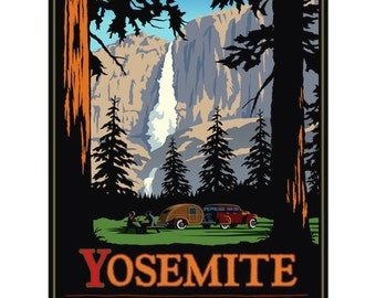 Yosemite Art. National Park Print. Yosemite Falls. Great Fathers Day Gift. Yosemite Gift. National Park Poster Framed. National Park Prints.