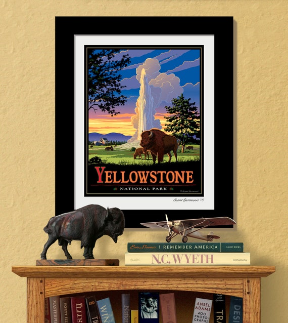 Yellowstone National Park Old Faithful National Park Prints Old Faithful Inn Yellowstone Bison Framed National Park Prints