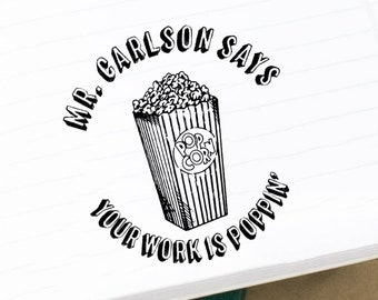 Funny Popcorn Teacher Stamp, Personalized Classroom Grading Stamps, Gifts for Teachers, Classroom Stamps, School & Teach er Stamps