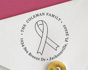 Custom Ribbon Address Stamp, Awareness Stamp